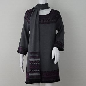 Style & Co Sweater Dress With Scarf Set